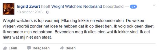 review van weight watchers door Ingrid